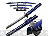 Blue Dragon 3 piece Japanese Style Sword Set with Stand - Blue