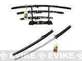 Blue Dragon 3 piece Japanese Style Sword Set with Stand - Black