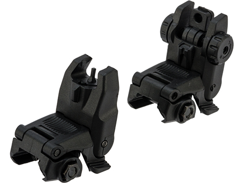 Adaptive Armament Polymer Low Profile Flip-up Backup Iron Sights (Color: Black)