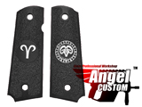 Angel Custom CNC Machined Tac-Glove Zodiac Grips for Tokyo Marui/KWA/Western Arms 1911 Series Airsoft Pistols - Black (Sign: Aries)