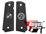 Angel Custom CNC Machined Tac-Glove Universal Grips for 1911 Series Pistols (Color: Black / Sagittarius)