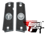 Angel Custom CNC Machined Tac-Glove Zodiac Grips for Tokyo Marui/KWA/Western Arms 1911 Series Airsoft Pistols - Dark Grey (Sign: Aries)