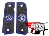 Angel Custom CNC Machined Tac-Glove Zodiac Grips for Tokyo Marui/KWA/Western Arms 1911 Series Airsoft Pistols - Navy Blue (Sign: Cancer)