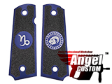 Angel Custom CNC Machined Tac-Glove Zodiac Grips for Tokyo Marui/KWA/Western Arms 1911 Series Airsoft Pistols - Navy Blue (Sign: Capricorn)