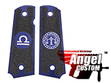 Angel Custom CNC Machined Tac-Glove Zodiac Grips for Tokyo Marui/KWA/Western Arms 1911 Series Airsoft Pistols - Navy Blue (Sign: Libra)