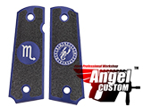 Angel Custom CNC Machined Tac-Glove Zodiac Grips for WE-Tech 1911 Series Airsoft Pistols - Navy Blue (Sign: Scorpio)