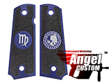 Angel Custom CNC Machined Tac-Glove Zodiac Grips for WE-Tech 1911 Series Airsoft Pistols - Navy Blue (Sign: Virgo)