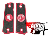 Angel Custom CNC Machined Tac-Glove Zodiac Grips for WE-Tech 1911 Series Airsoft Pistols - Red (Sign: Scorpio)