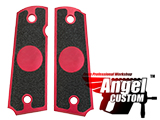 Angel Custom CNC Machined Tac-Glove Universal Grips for 1911 Series Pistols (Color: Red / Blank)