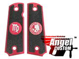 Angel Custom CNC Machined Tac-Glove Zodiac Grips for WE-Tech 1911 Series Airsoft Pistols - Red (Sign: Virgo)