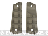 FMA Textured Ergonomic Polymer 1911 Grips - (FRAG Pattern) Dark Earth