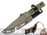 Matrix M37-K Seal Pup Type Rubber Training Knife w/ Hardshell Sheath Airsoft Movie Prop - Tan