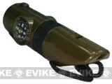 Evike.com Survival Whistle w/ Integrated Compass Thermometer LED Light Magnifying Glass
