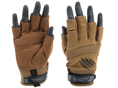 Armored Claw Shooter Cut Hot Weather Tactical Gloves (Color: Tan / Small)