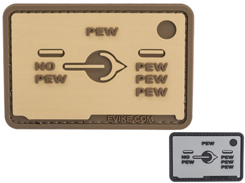 Pew Pew Pew Selector Switch  3 x 2 PVC Morale Patch (Color: Tan)