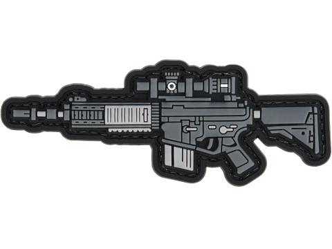 Evike.com PVC Morale Patch Mini Gun Series (Model: SR25K / Black)