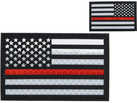 Matrix Reflective Thin Red Line US Flag Patch w/ Nylon Bordering