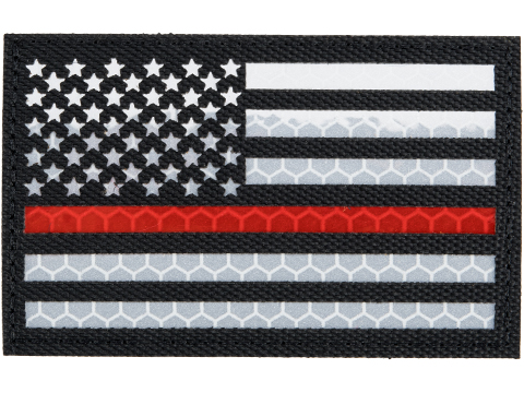 Matrix Reflective US Flag Patch w/ Nylon Bordering (Color: Black Thin Red Line / Left)
