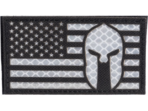 Matrix Reflective Molon US Flag Patch w/ Nylon Bordering (Color: Black / Left)