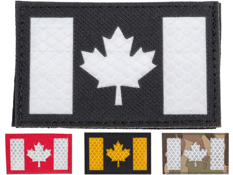 Matrix Reflective Canada Flag Patch w/ Nylon Bordering (Color: Black)