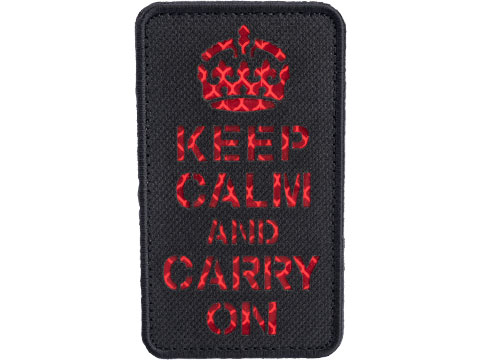 Matrix Reflective Keep Calm Morale Patch w/ Nylon Bordering (Color: Black / Red)