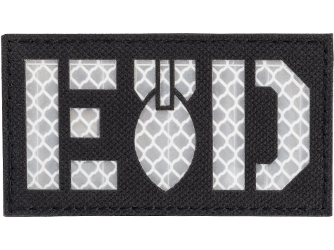 Matrix Reflective EOD Morale Patch w/ Nylon Bordering (Color: Black)