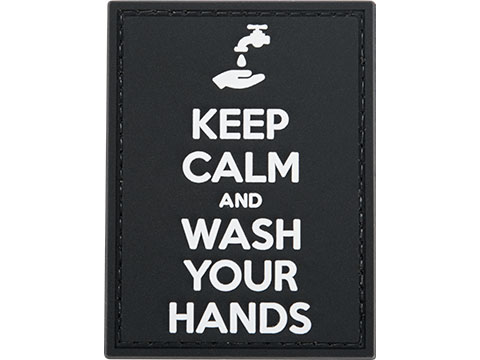 Evike.com COVID-19 Awareness PVC Morale Patches (Style: Keep Calm and Wash Your Hands / Black & White)