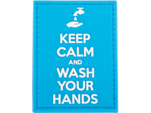 Evike.com COVID-19 Awareness PVC Morale Patches (Style: Keep Calm and Wash Your Hands / Blue & White)