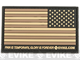 Evike.com US Flag PVC Hook and Loop Patch (Color: Tan / Reverse)