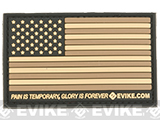 Evike.com US Flag PVC Hook and Loop Patch (Color: Tan / Regular)