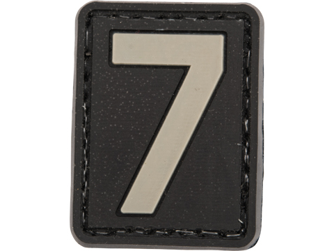 Evike.com PVC Hook and Loop Letters & Numbers Patch Black/Grey (Number: 7)