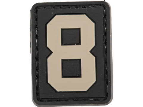Evike.com PVC Hook and Loop Letters & Numbers Patch Black/Grey (Number: 8)