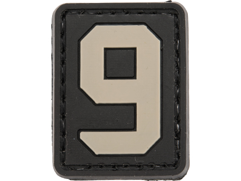 Evike.com PVC Hook and Loop Letters & Numbers Patch Black/Grey (Number: 9)