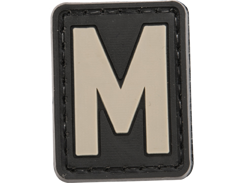 Evike.com PVC Hook and Loop Letters & Numbers Patch Black/Grey (Letter: M)