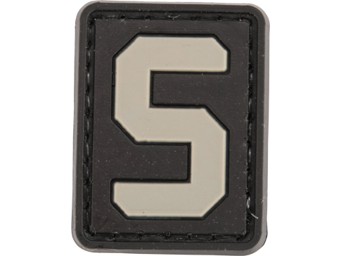 Evike.com PVC Hook and Loop Letters & Numbers Patch Black/Grey (Letter: S)