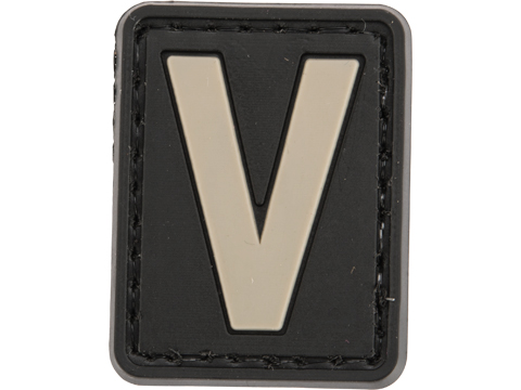 Evike.com PVC Hook and Loop Letters & Numbers Patch Black/Grey (Letter: V)