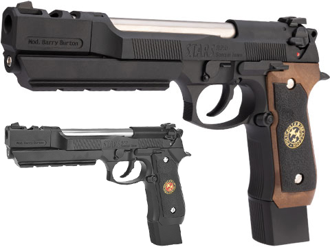 WE-Tech BioHazard Barry Burton M92 Custom Gen I Gas Blowback Airsoft Pistol (Model: Semi Auto / Black w/ Black Grip)