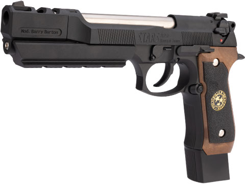 WE-Tech BioHazard Barry Burton M92 Custom Gen I Gas Blowback Airsoft Pistol (Model: Semi Auto / Black w/ Brown Grip)