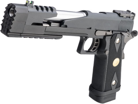 WE-Tech Full Auto Competition Series Hi-CAPA Gas Blowback Pistol (Model: Xcelerator Dragon Long Slide / Black / Medallion Grip)