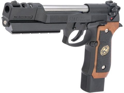 WE-Tech BioHazard Barry Burton M92 Custom Gen I Gas Blowback Airsoft Pistol (Model: Semi / Black w/ Brown Grip)