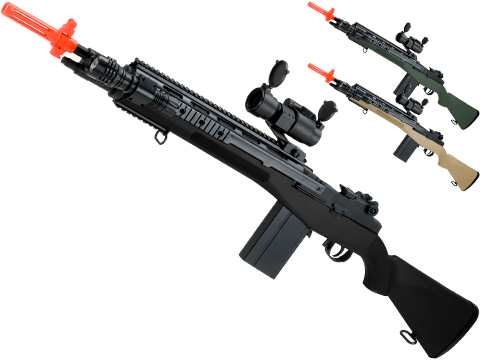 AGM M14 SOCOM Airsoft Spring Powered Rifle Package (Color: Black)