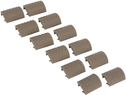 Matrix Rubber Ergonomic RIS Hand Guard Rail Cover Set - Set of 12 (Color: Tan)