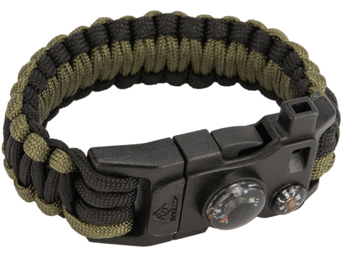 Evike.com Paracord Advanced Survival Bracelet with Firestarter (Color: Black-OD Green / 7)
