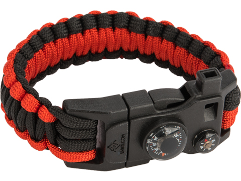 Evike.com Paracord Advanced Survival Bracelet with Firestarter (Color: Black-Red / 7)