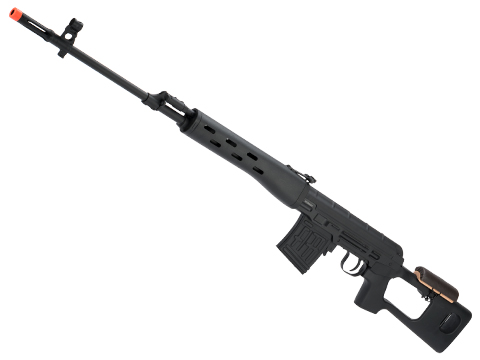 A&K SVD Dragunov Bolt Action Airsoft Sniper Rifle (Color: Stealth Black / 430 FPS)
