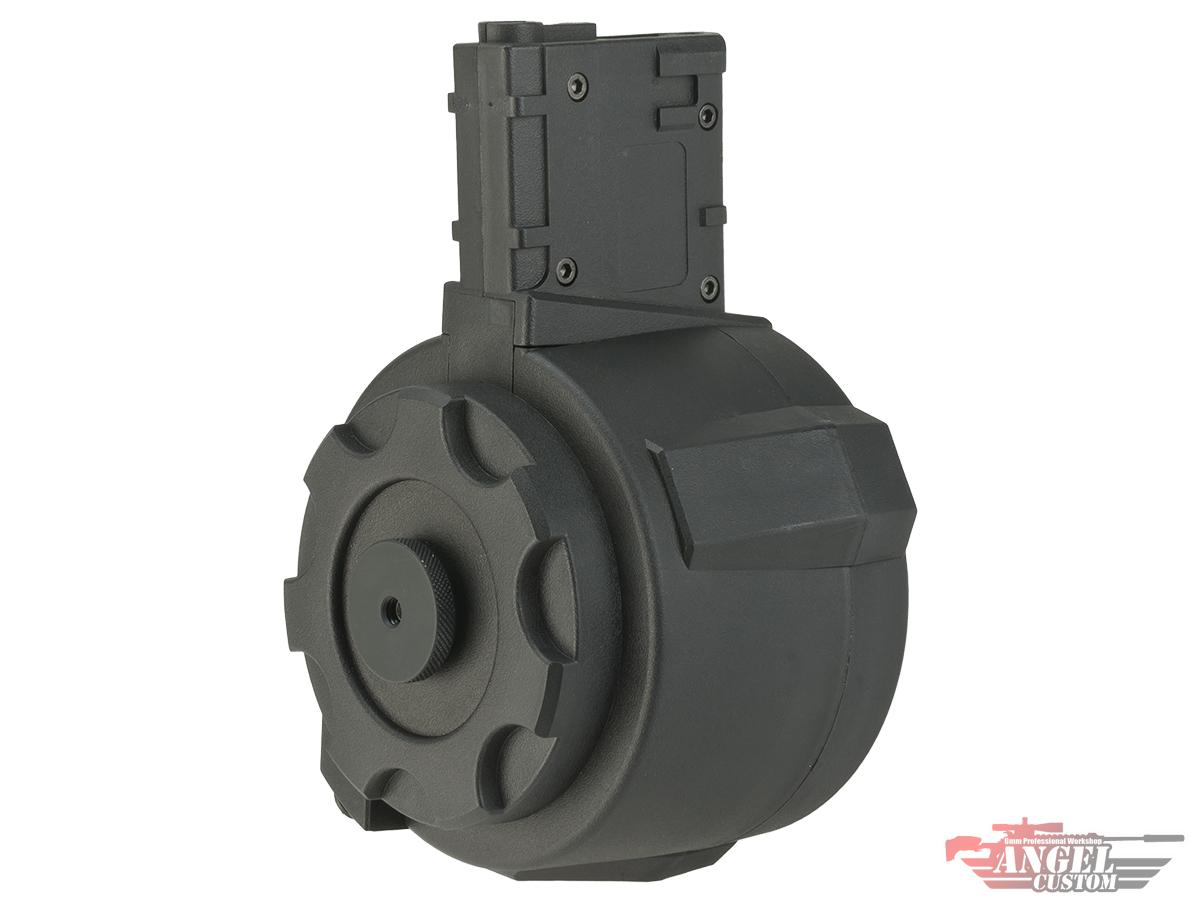 Angel Custom 1500 Round Firestorm Airsoft AEG Drum Flashmag (Color: Black / M4 Adapter)