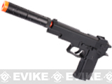 DE M9 Elite Full Size Airsoft Spring Powered Pistol w/ Mock Silencer