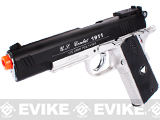 WG Xtreme 45 Full Metal US Combat 1911 Airsoft CO2 Gas Blowback - Black / Silver Grip
