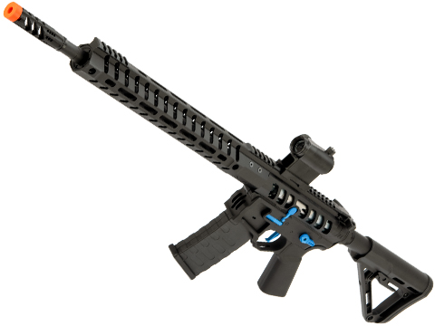 EMG F-1 Firearms UDR-15 AR15 2.0 eSilverEdge Full Metal Airsoft AEG Training Rifle (Model: Black & Blue / RS3 Stock / 400 FPS)