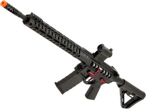 EMG F-1 Firearms UDR-15 AR15 2.0 eSilverEdge Full Metal Airsoft AEG Training Rifle (Model: Black & Red / RS3 Stock / 350 FPS)